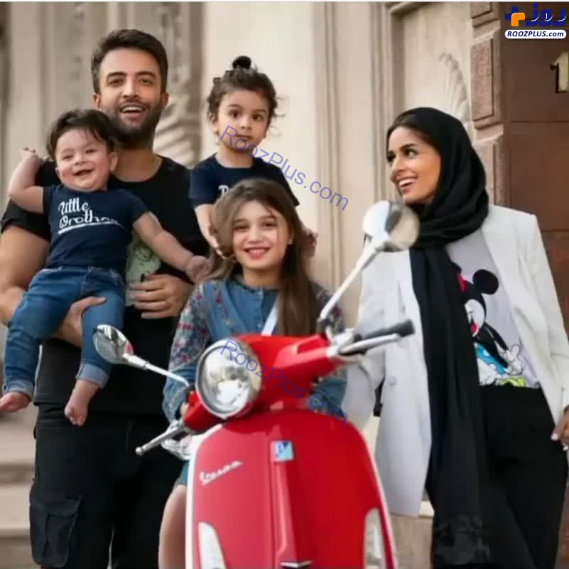 موتورسواری بنیامین با همسر و فرزندانش+عکس