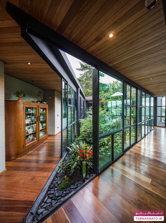 محصور شدن یک باغ کوچک با ویلای مثلثی