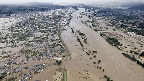 تصاویر هوایی متاثرکننده از طغیان رودخانه در ژاپن