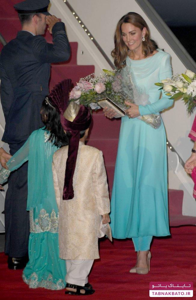 کیت میدلتون در لباس سنّتی زنان پاکستان