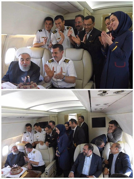 جشن تولد سورپرایزیِ روحانی در هواپیما +عکس