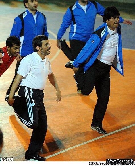 گل کوچیک احمدی نژاد با رئیس جمهور مستعفی بولیوی+ عکس
