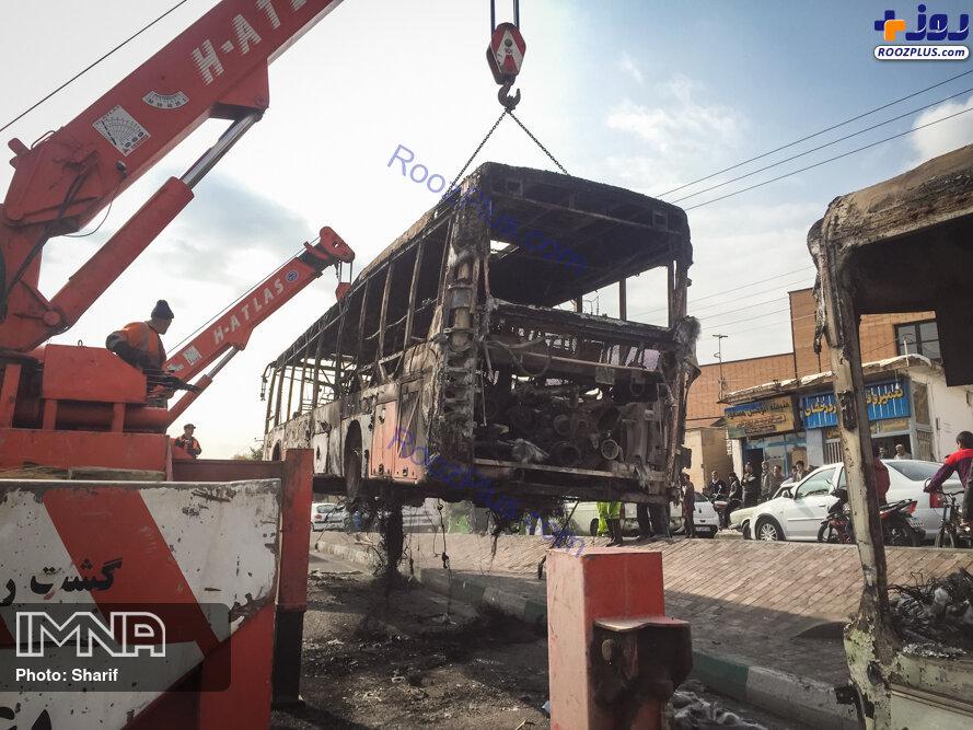 آتش زدن اتوبوس ها در نا آرامی های اصفهان +عکس