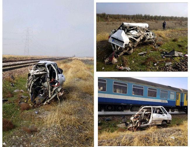 تصویری از مچاله شدن پراید در تصادف با قطار