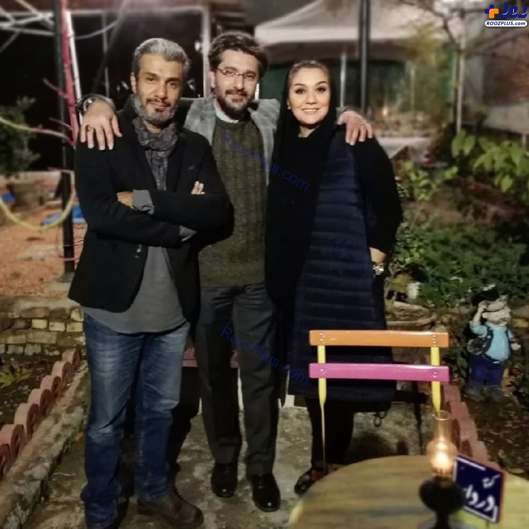 امیرحسین مدرس و همسرش در کنار آریا عظیمی نژاد/عکس