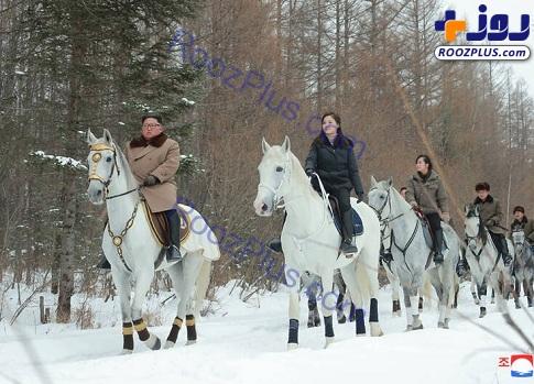 اسب سواری کیم جونگ اون و همسرش+عکس