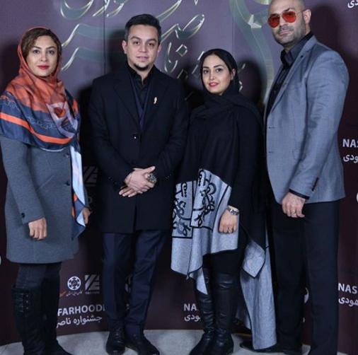 حدیثه تهرانی و همسرش در جشنواره صدابرداری موسیقی+عکس