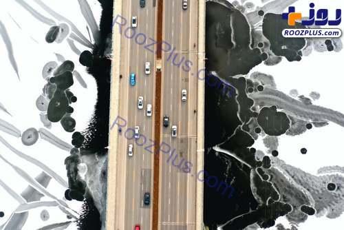 تصویری جالب از رودخانهای یخ زده در