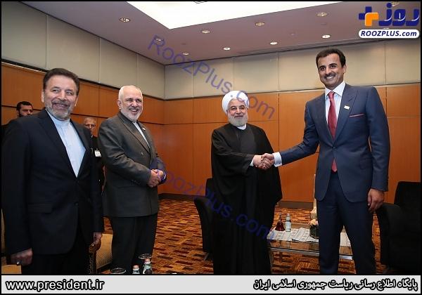 دیدار امیر قطر با حسن روحانی + عکس