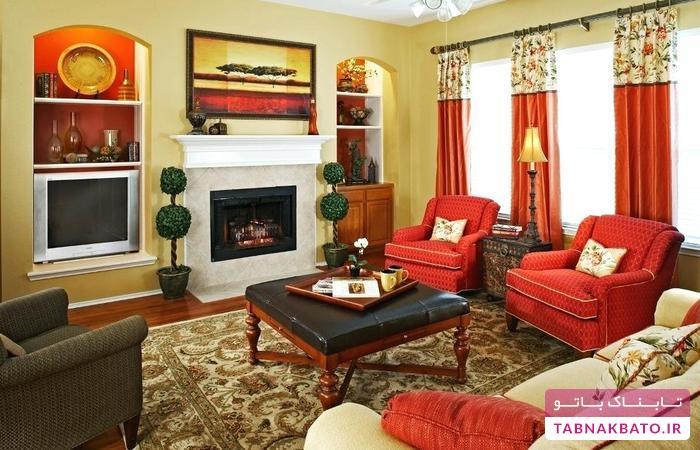 استفاده از رنگ قرمز در چیدمان اتاق نشیمن