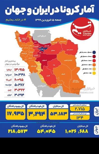اینفوگرافی؛ آمار کرونا در ایران و جهان