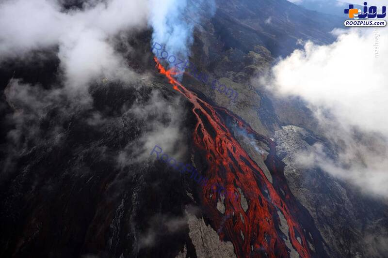 فوران آتشفشان پیتون در فرانسه+عکس