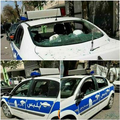 ماجرای تخریب خودروی پلیس در خوی چه بود؟+عکس