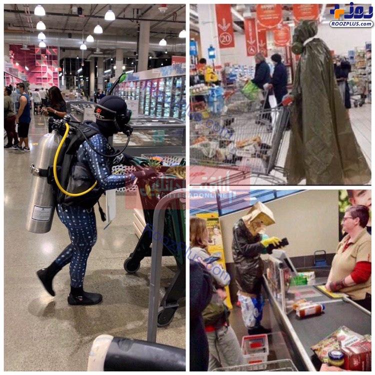 شیوههای عجیب و غریب محافظت از کرونا در سوپرمارکت+عکس