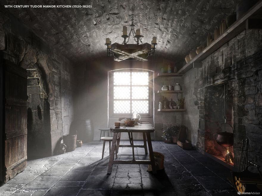 کار جالب یک شرکت طراحی داخلی: نشان دادن روند تغییر ظاهر آشپزخانهها در طی پنج قرن