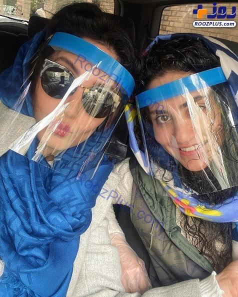 ماسک ضد کرونایی الناز شاکردوست و خواهرش+عکس