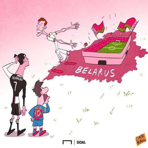 کارتون؛ مسی و رونالدو در بلاروس