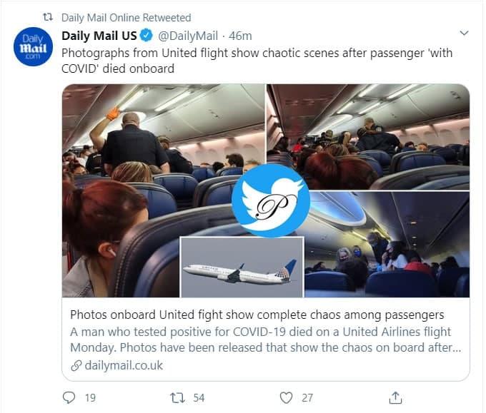 آشوب در آسمان به دنبال فوت یک مسافر کرونایی +عکس
