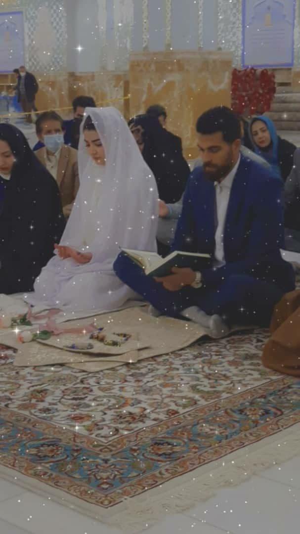 مراسم ازدواج دروازهبان لیگ برتری در حرم امام رضا (ع) +عکس