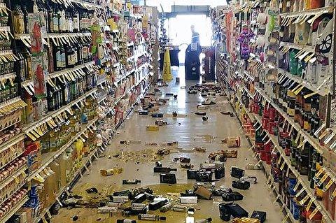 وقوع زمین لرزه خوفناک در یک فروشگاه