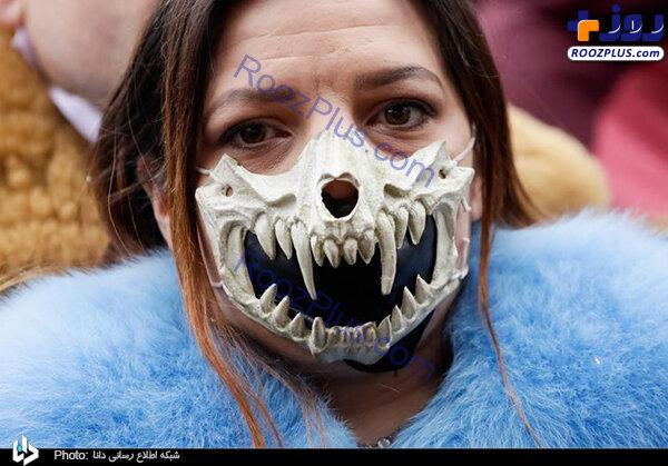 ماسک عجیب و ترسناک یک زن+عکس