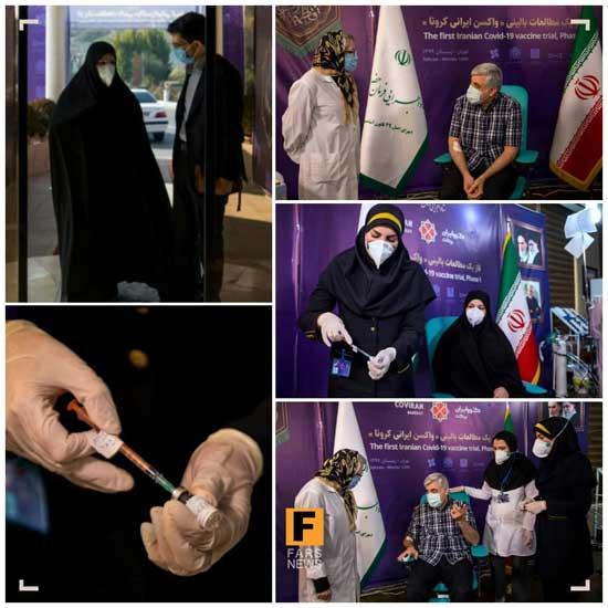 تزریق دوز دوم واکسن ایرانی کرونا به داوطلب زن