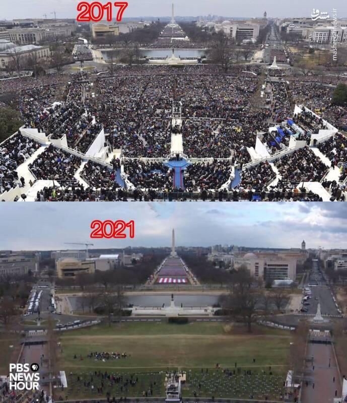 مراسم تحلیف ترامپ و بایدن در یک قاب