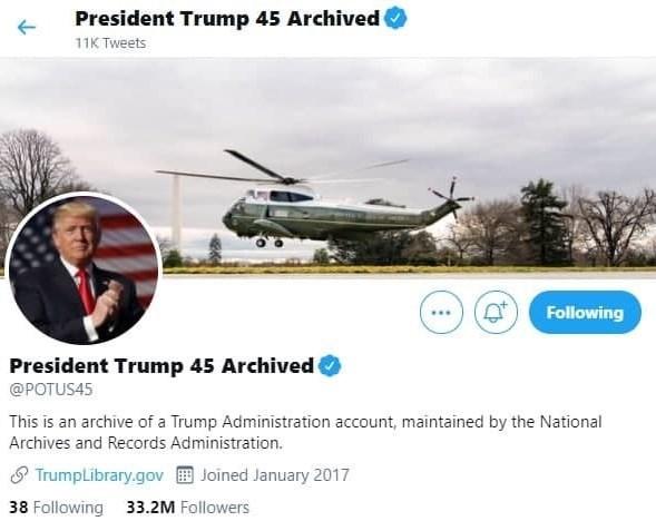 حساب توئیتری آرشیو شده ترامپ پر قدرت تر از بایدن+عکس