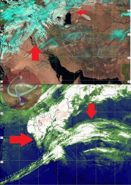 تصاویر ماهوارهای از حرکت جبهه بارشی در ایران