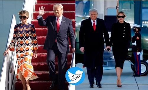 تغییر لباس ملانیا ترامپ در هواپیما سوژه شد