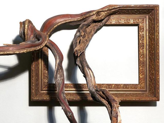 هنرمندی که با مهارت قابهای چوبی را با شاخهها و ریشههای درختان پیوند میدهد