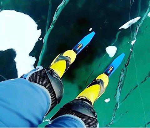 لحظات دلهره آور اسکیت روی عمیق ترین دریاچه یخ زده