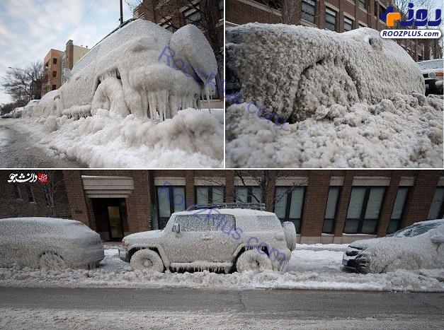یخ زدگی خودروهای پارک شده در خیابان+عکس