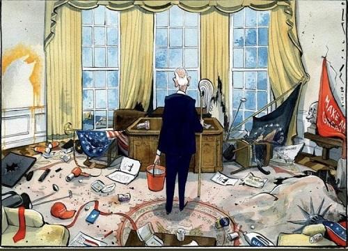 اولین روز کاری بایدن در کاخ سفید+عکس