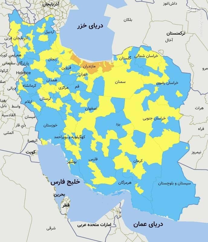 رنگبندی استانهای کشور از نظر وضعیت کرونا+نقشه
