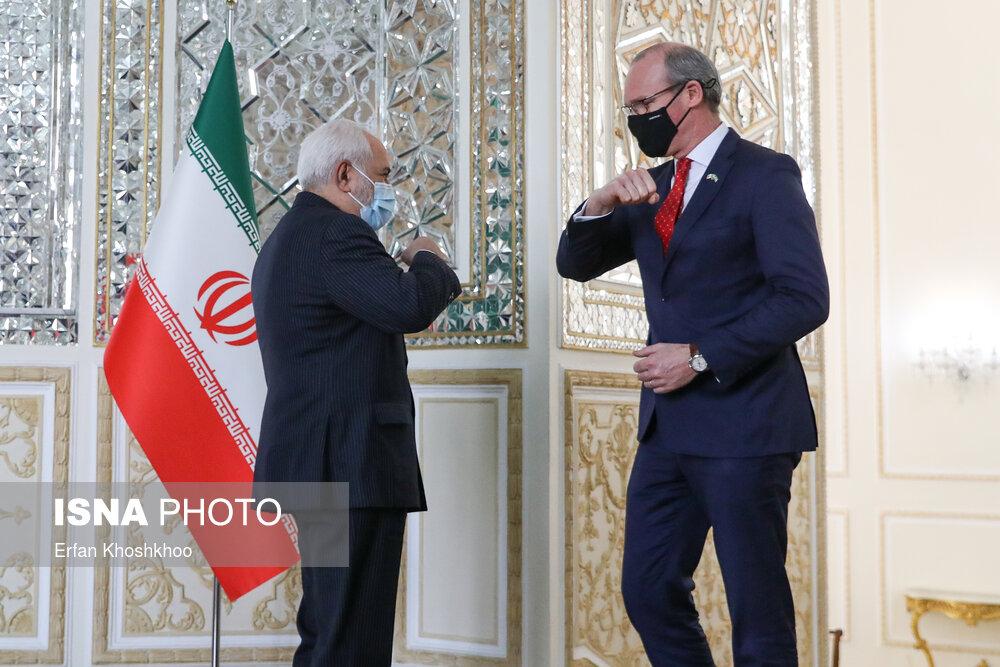 سلام کردن عجیب ظریف با وزیر خارجه ایرلند + عکس