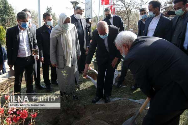 کاشت نهال دوستی با حضور ظریف و همسرش+عکس