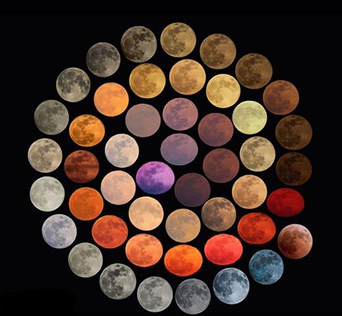 ۴۸ رنگ متفاوت از ماه طی ۱۰ سال