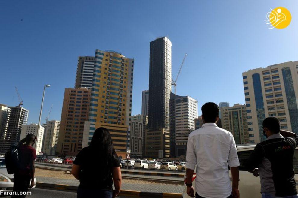 برج مسکونی شارجه پس از آتش سوزی +عکس