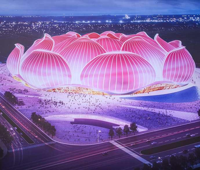 استادیوم اورگرانده؛ ورزشگاه ۱۰۰,۰۰۰ نفری جدید چین به شکل نیلوفر آبی