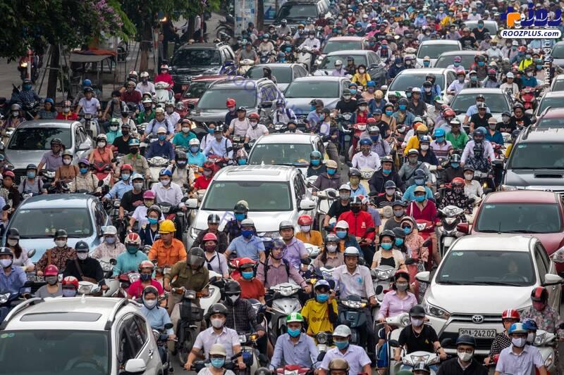 حجم زیاد موتور سواران در خیابانهای ویتنام +عکس