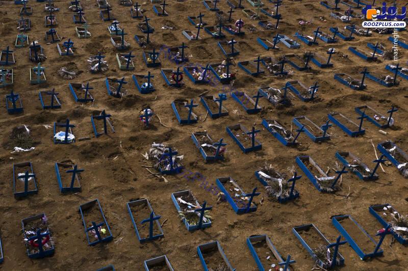 قبرهای جدید قربانیان کرونا در برزیل +عکس
