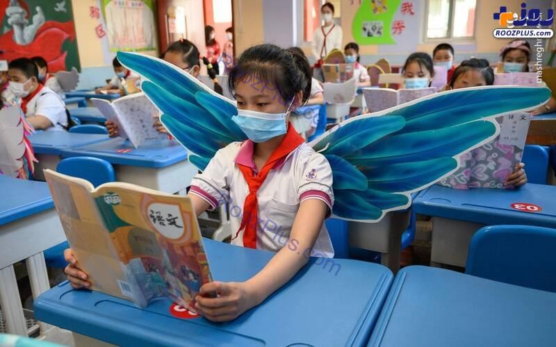 دانش آموزان بالدار در مدارس چین+عکس