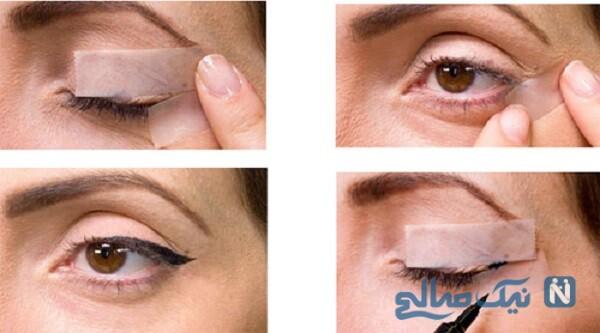 آموزش تصویری کشیدن خط چشم با چسب کاغذی