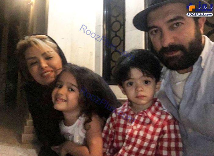 مجید صالحی در کنار همسر و فرزندانش+عکس