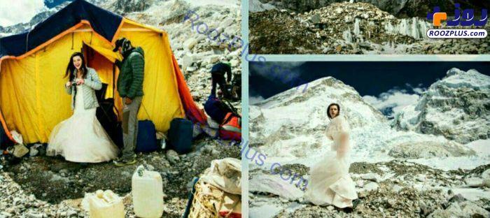 ازدواج هیجان انگیز زوج جوان در قله اورست+عکس