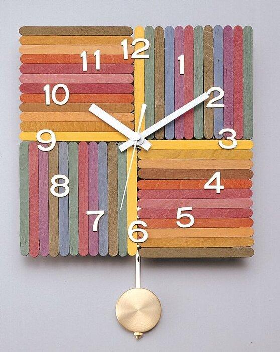 ساخت ساعتهای رنگی جذاب با چوب بستنی+ عکس