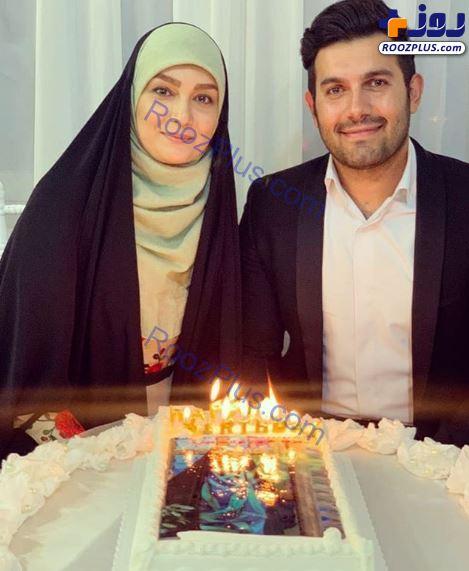 جشن تولد مژده خنجری در کنار همسرش+عکس