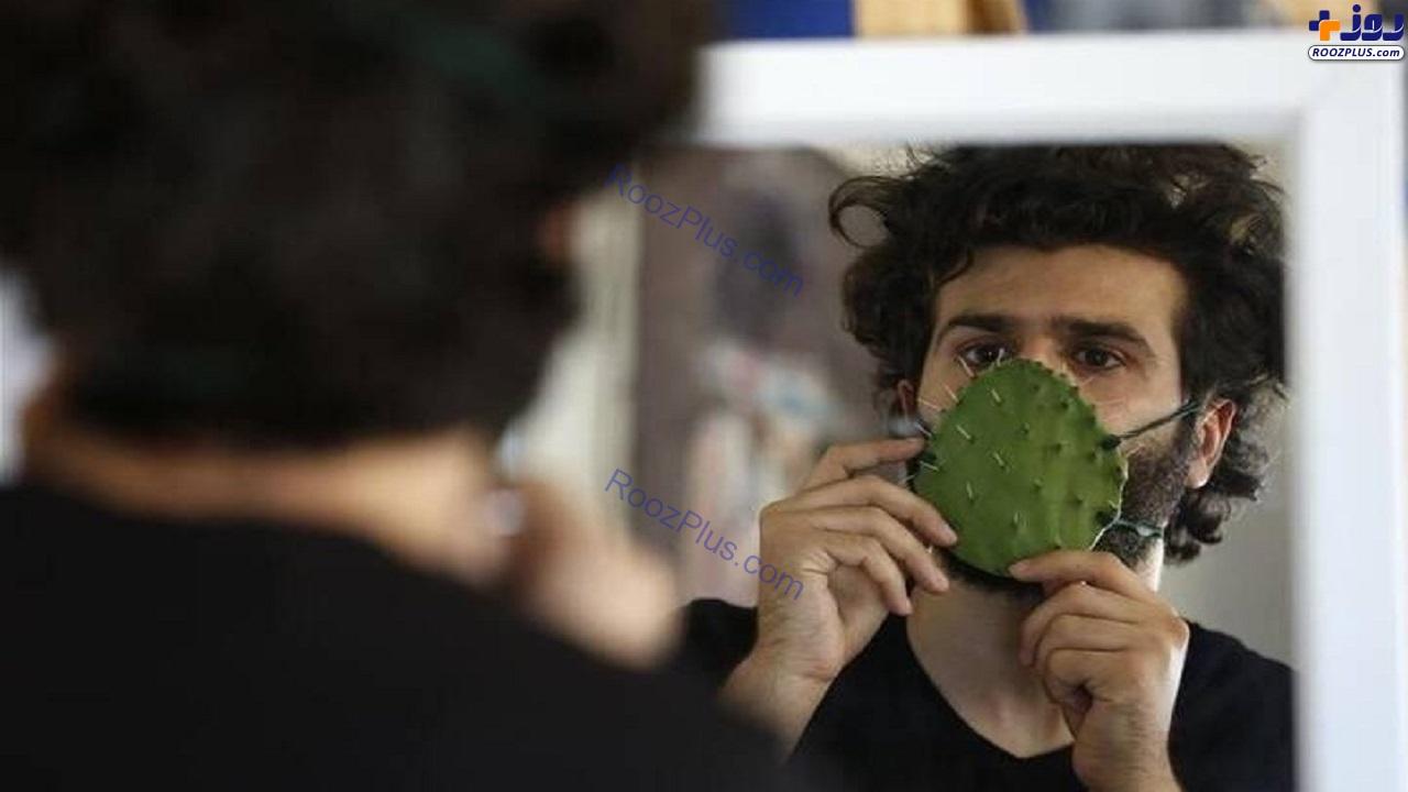 ساخت ماسک با کاکتوس در روزهای کرونایی+عکس