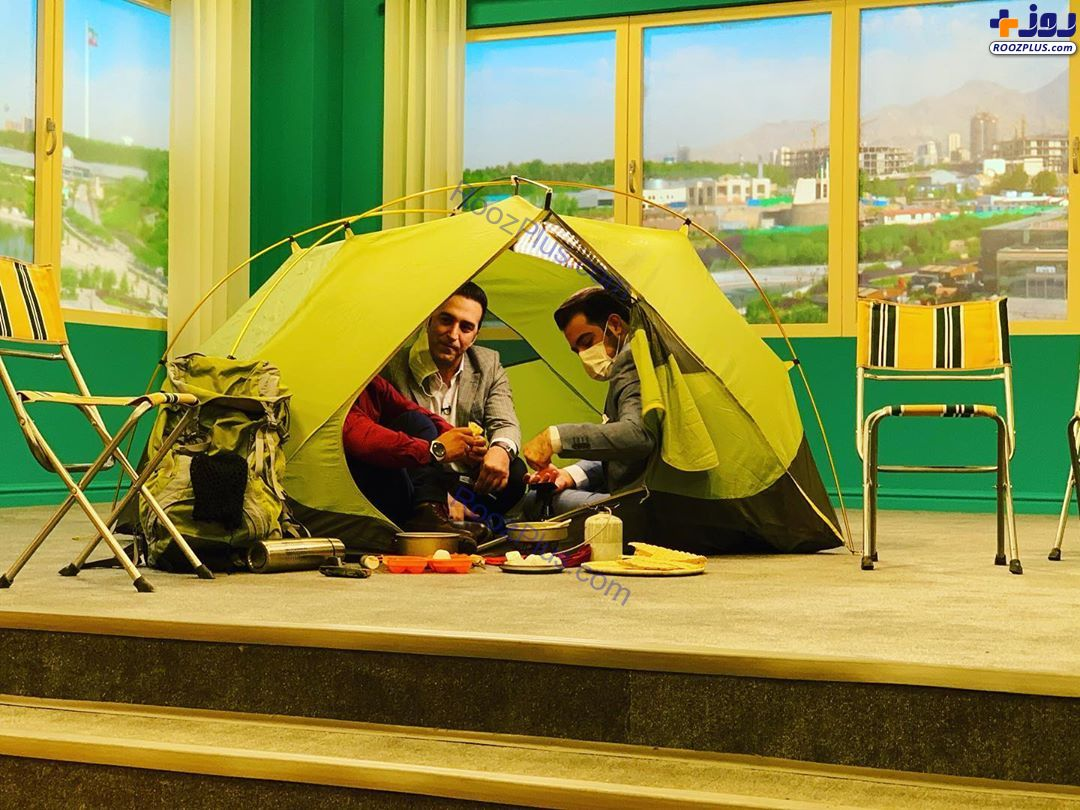 چادر زدن و نیمرو درست کردن روی آنتن زنده تلویزیون +عکس